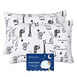 Baby Toddler Pillowcase, Cot Bed Pillow Pair Cases 40 x 60cm, 2 Pack 100% Cotton Pillow Cover for Boys Girls Kids Bedding, Envelope Closure Machine Washable Travel Pillow Pillowcase
