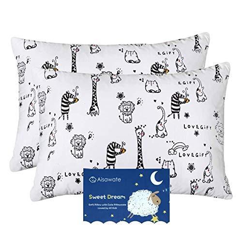 kinder Kissenbezug 40 x 60 cm, Baby Kleinkind Kissen Kissenbezüge für kinderwagen, 2er-Pack Bio Baumwolle Kopfkissenbezug mit Umschlagverschluss, Weiß Waldtiere