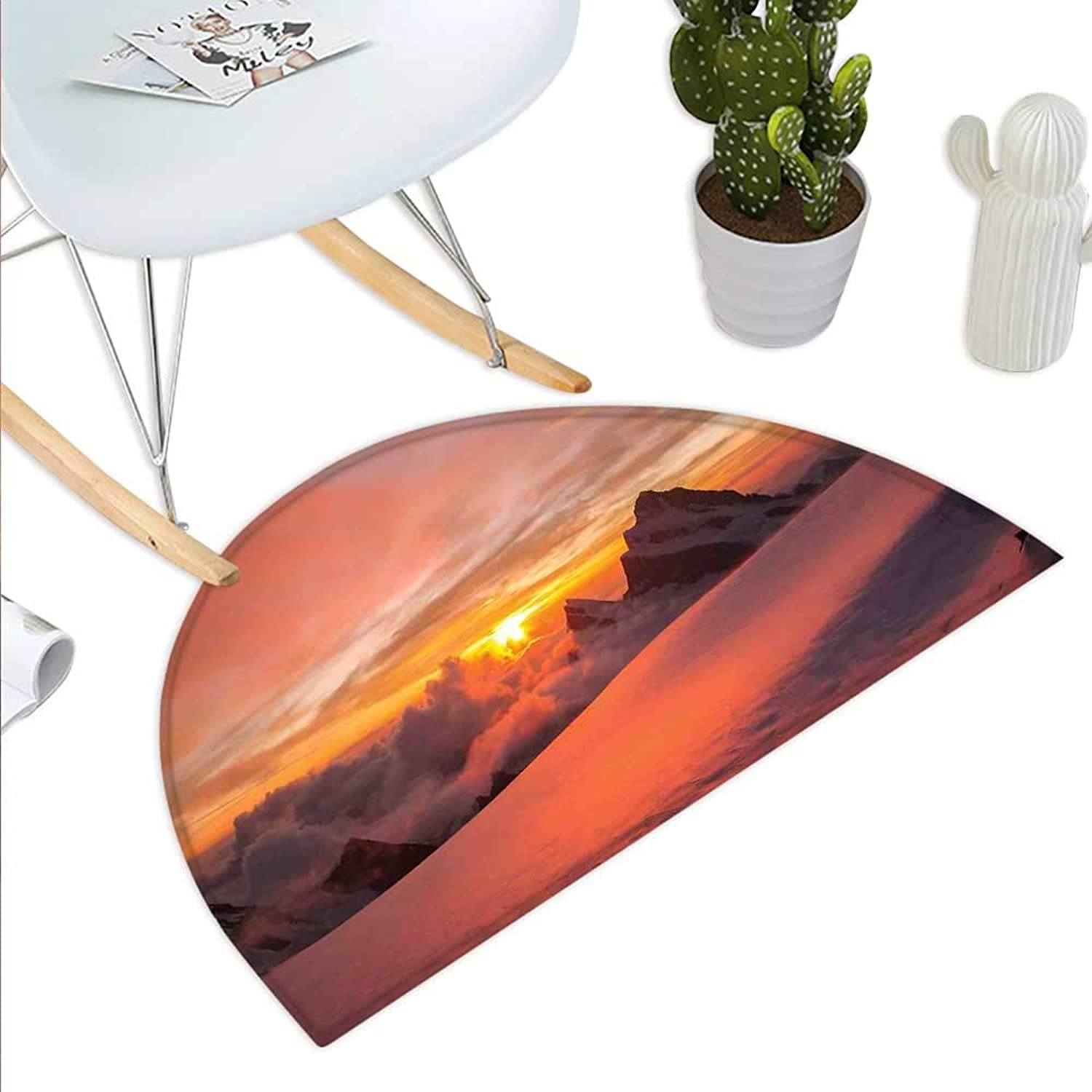 Mountain Semicircle Doormat Sunrise in Swiss Alps with Magical View of Mountain Natural Paradise Theme Halfmoon doormats H 43.3  xD 64.9  White and Yellow