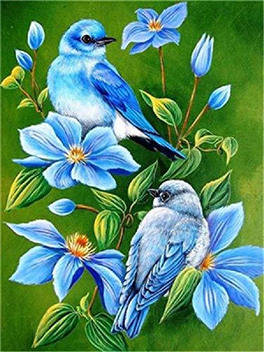Olieverfschilderij om zelf te maken, blauwe vogel in blauwe bloem, decoratie van het huis, handgeschilderd olieverfschilderij, 40 x 50 cm