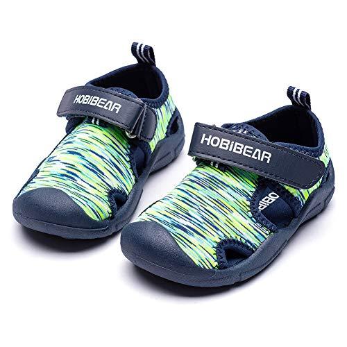 HOBIBEAR Boys Water Shoes Quick Dry Breathable Aqua Kids Sport Sandals Beach Swim Pool Water Park (Green,7.5 Toddler)