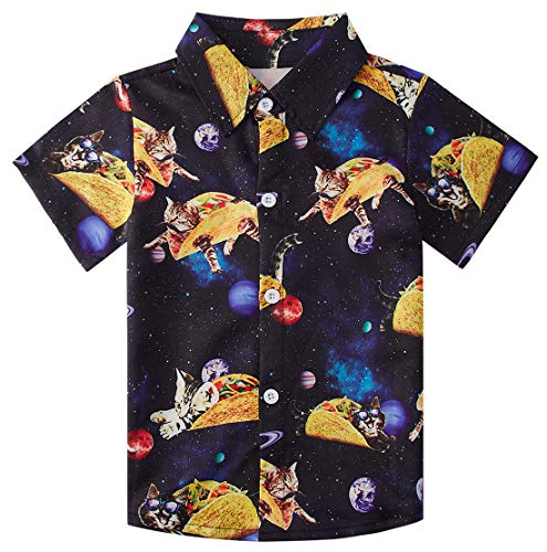 Enlifety Hawaiian Party Button Down Shirts for Boys Tasty Tacos Dress Shirts for Junior School Party
