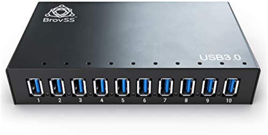 BrovSS: 10 Port Powered USB 3.0 Hub Aluminum - USB Hub Charger - Multiple Port Splitter Hub with 12V 5A 60W Power Adapter with USB Cable for Apple, Laptop, PC, USB Flash Drives, HDD Hard Drive (Black)