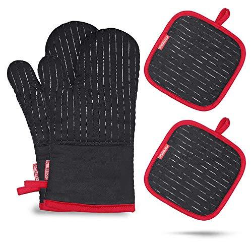 esonmus Silikon-Ofenhandschuhe, Lange Topfenhandschuhe Doppel mit 2 Topflappen,Hitzebeständige rutschfeste Backhandschuhe für die Küche die Kochen Backen BBQ,Schwarz (Black-1)