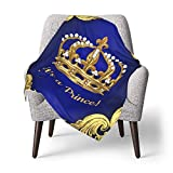 GAJAJAYZXN Baby Blanket Super Soft Royal Blue Gold Prince Crown Printed 30 X 40 Inch, Receiving Blankets