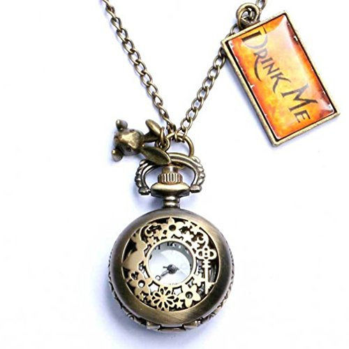 Onwon Vintage Drink Me Pocket Watch Necklace Quartz Watch Alice in Wonderland Rabbit