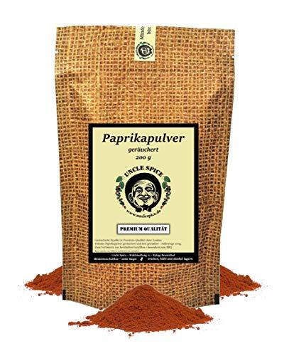 Uncle Spice geräuchertes Paprikapulver - 200g Paprika edelsüß geräuchert fein gemahlen in Premiumqualität - Paprikaschoten Pulver, Paprika Gewürzpulver - Ideal für BBQ Marinaden und zum Grillen
