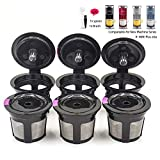 Reusable Coffee Filter Replacement for Keurig K MINI PLUS Refillable K Cupsules 2.0 1.0 Small Coffee Pod Single Reuable Coffee Capsules (Black/6)