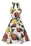 Topdress Women'sVintage Polka Audrey Dress 1950s Halter Retro Cocktail Dress Pineapple 2XL New