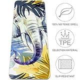 Eslifey - Esterilla de Yoga para Mujer, diseño de Elefantes tailandeses con Hojas Tropicales, Antideslizante, 182,88 x 60,96 cm, 0,63 cm de Grosor