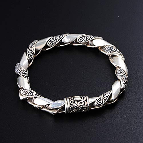 Zilveren Armband Heren Armband Gemaakt Van Massief 925 Sterling Zilver, Retro Twist Gedraaide Ketting Armband, Modieuze Persoonlijkheid Armband Sieraden
