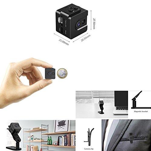 T16 Mini Spy Cam Hidden Camera MicroTelecamera Spia + Fotocamera Digitale Miniaturizzata a Batteria / Microcamera Spia Nascosta Occultabile / Registra Audio Video HD 720P 30fps / Macchina Fotografica