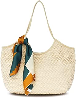 BeAllure Women's Canvas Mesh Summer Vacation Beach Totes Bags Lightweight Net Fashion Shoulder Bag with Satin Scarf