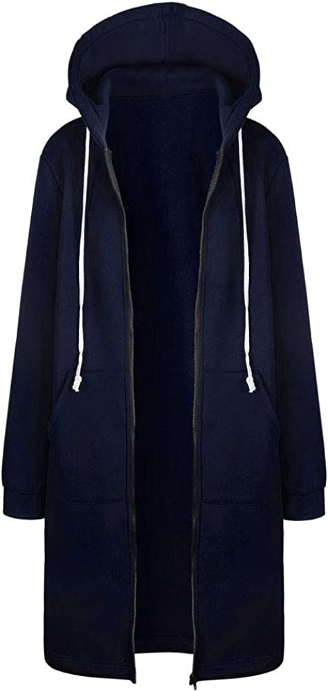 Long Coats for Women with Hood Winter Fashion Zip Up Hooded Jackets with Pocket Casual Outwear Overcoat