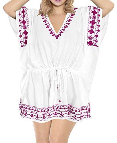 LA LEELA rayón de Las Mujeres del Traje de baño Traje de baño Bikini Encubrir cordón Blusa Ghosts Blanco_B738