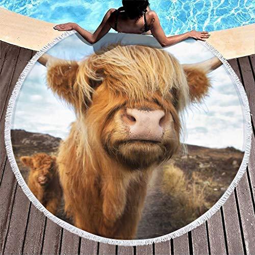 MINNOMO Toalla de playa redonda con diseño de vacas de Escocia, con borlas, supersuave, para picnic, 150 cm, color blanco