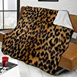 Daisylove - Manta de piel de leopardo con estampado de animales de franela suave de cordero, para sofá, cama, sofá, silla, oficina, viajes, camping, manta moderna decorativa cálida de 127 x 152 cm