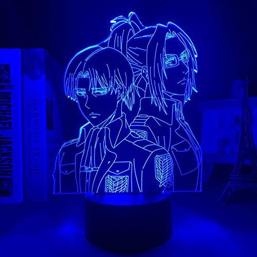 Lámpara 3D de luz nocturna con efecto 3D, ataque a titanio Levi Ackerman, acrílico, lámpara de noche colgante para decoración del hogar, lámpara de anime, lámpara colgante LED de luz nocturna ASQWZX