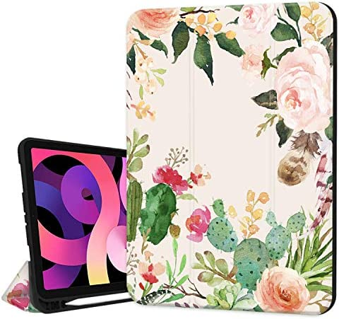 Hepix Case for New iPad Air 4th Generation 2020 Flower Cactus iPad Air 10 9 inch Case with Pencil product image