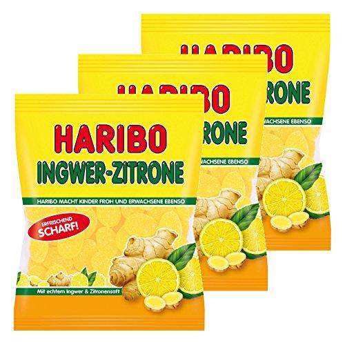 Haribo Ingwer-Zitrone, 3er Pack, Gummibärchen, Weingummi, Fruchtgummi, Im Beutel, Tüte