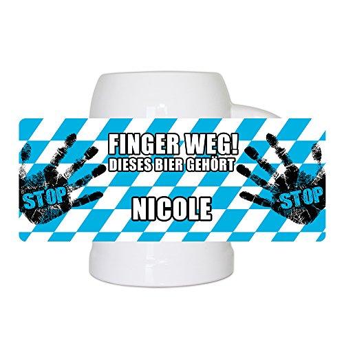 Lustiger Bierkrug mit Namen Nicole und schönem Motiv Finger weg! Dieses Bier gehört Nicole | Bier-Humpen | Bier-Seidel