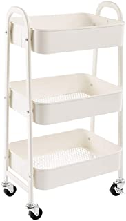 AGTEK Makeup Cart, Movable Rolling Organizer Cart, White 3 Tier Metal Utility Cart
