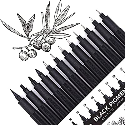 Set of 12 Micro-Pens, Fineliner Ink Pens, Black Drawing Pen, Pigment Pen, Waterproof,Great for Artist Illustration, Sketching, Technical Drawing 902195 from YISAN