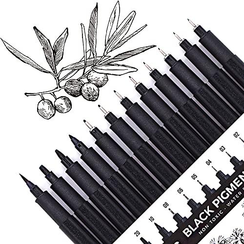 Set of 12 Micro-Pens, Fineliner Ink Pens, Black Drawing Pen, Art Pens, Waterproof,Great for Sketching, Technical Drawing 902195