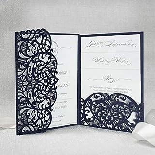 Blu marino apribile taglio laser inviti matrimonio fai da te partecipazioni matrimonio carta con busta - campione prestamp...