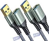AINOPE - Cable de extensión USB 3.0 de 2 m (macho a hembra, 2 m, material trenzado duradero, transferencia rápida de datos, compatible con USB teclado, ratón, disco duro