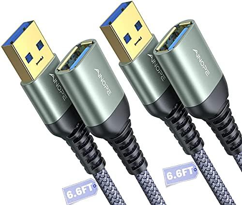 AINOPE - Cable de extensión USB 3.0 de 2 m (macho a...