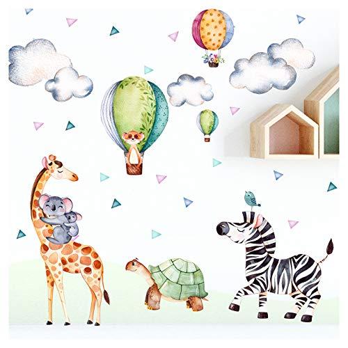 Little Deco Wandsticker Safari Party I Wandbild M - 126 x 83 cm (BxH) I Giraffe Zebra Aufkleber Wandtattoo Kinderzimmer Wandaufkleber Deko Babyzimmer DL304