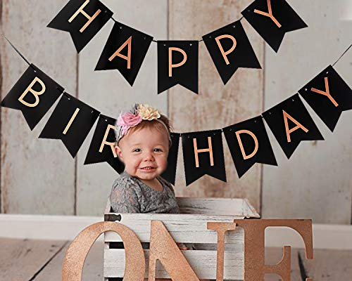 Happy Birthday Banner for Rose Gold Party Decorations - Shiny Black and Gold Letters for Birthday Party | Great for Birthday Decorations Supplies | Suitable for Family and Office Decor (Rose Gold)