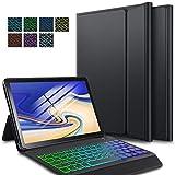 ELTD Tastatur Hülle für Samsung Galaxy Tab S4 10.5 (Deutsches QWERTZ-Layout), Hülle mit 7 Farben Hintergr&beleuchtung Kabellose Tastatur für Samsung Galaxy Tab S4 T830/T835 10.5 Zoll (Schwarz)