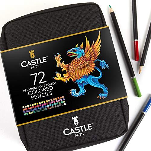 Castle Art Supplies – 72-teiliges Buntstifte-Set im Reißverschluss-Etui zur sicheren Aufbewahrung Ihrer Buntstifte