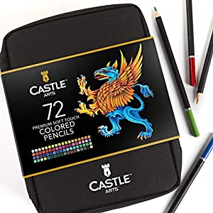 Castle Art Supplies 72 lápices de colores en estuche con cremallera para proteger y almacenar los lápices