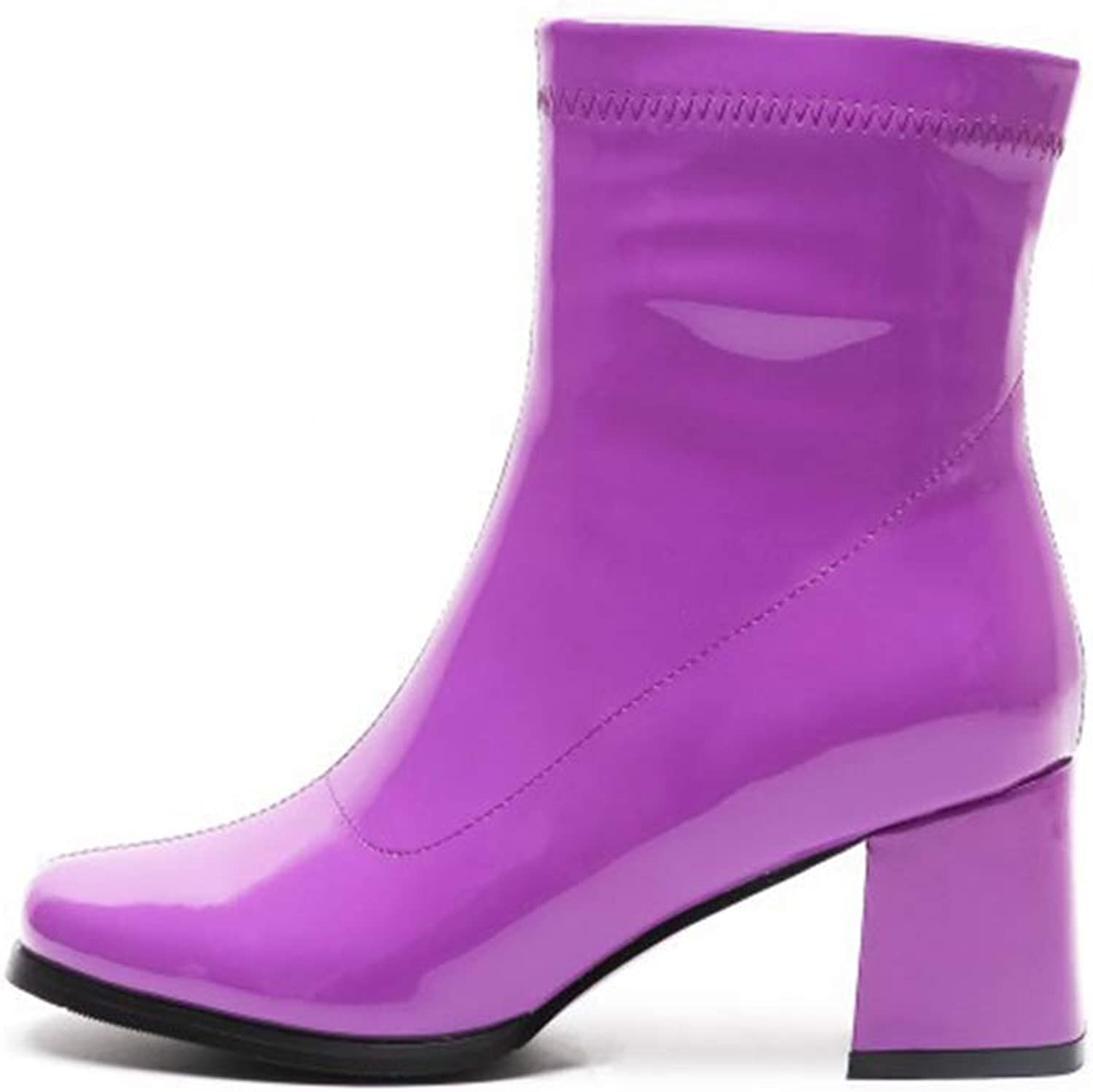 Women's Booties, Fall Winter Small Square Head Side Zipper High Thick Heel Fashion Boots Ladies Non-Slip Ankle Boots Black bluee Purple (color   C, Size   39)