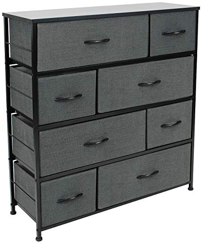 Sorbus Dresser with 8 Drawers - Furniture Storage Chest Tower Unit for Bedroom, Hallway, Closet, Office Organization - Steel Frame, Wood Top, Easy Pull Fabric Bins (Black)