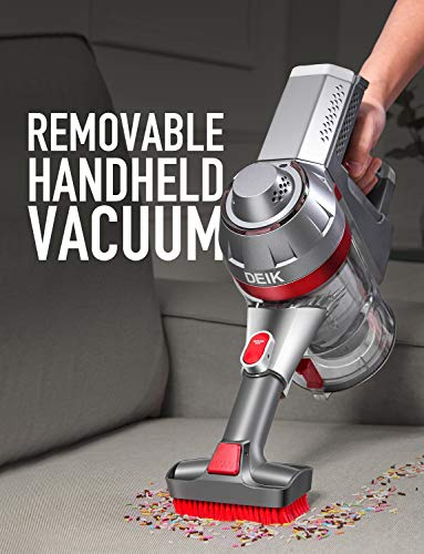 Deik Cordless Vacuum Cleaner, Stick and Handheld Vacuum with Powerful Suction & Wall-Mount-Silver