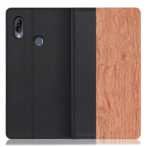 LOOF Nature ZenFone Max (M2) / ZB633KL ケース 手帳型 カバー 本革 天然木 ベルト無し ウッド 木製 木 カード収納 カードポケット 本革 高級 スタンド機能 手帳型ケース スマホケース (花梨)
