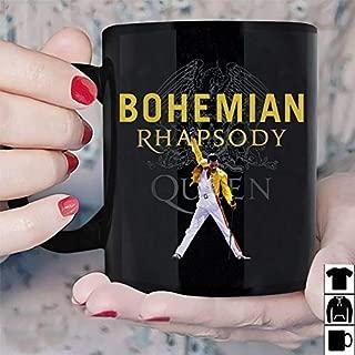 Freddie Mercury Bohemian Rhapsody Queen Mug Black Ceramic Coffee (15 Oz)