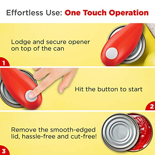Chef's Star Smooth Edge Automatic Electric Can Opener, (Red)