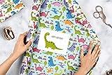 Geschenkpapier-Set für Kinder: Dinosaurier: 4x Einzelbögen + 1x Postkarte