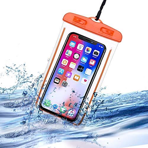 Frofine - Funda impermeable para teléfono móvil, funda impermeable para smartphone de tamaño igual y inferior a 6,3 pulgadas, plástico flexible impermeable impermeable para natación, playa, senderismo