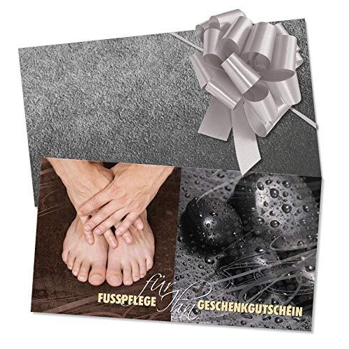 10 hochwertige Gutscheinkarten + 10 Kuverts + 10 Schleifen. Gutscheine für Fußpflegesalon Fußpflege. FU1227