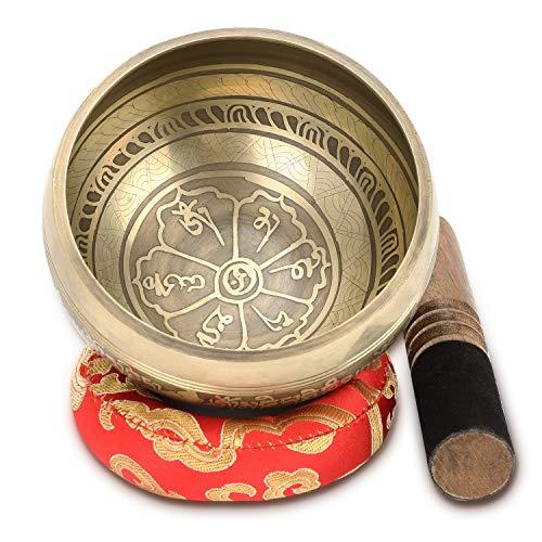 Tibetan Singing Bowl Set, Handcrafted Singing Bowl Yoga...
