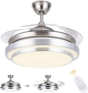 N / A Ventilador de Techo con Control de la luz y la luz de Techo Distancia 36W en LED Brillante Ventilador de Techo, la Vivienda Cromo Cepillado, Plegable Moderna ala Plegable Cuchilla retráctil