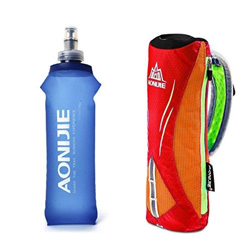 Geila Botella de Agua de Mano para Correr, Botella de Mano de Agarre de 17 oz con Paquete de hidratación con Correa de Mano, matraz Suave Deportivo BPA (Naranja)
