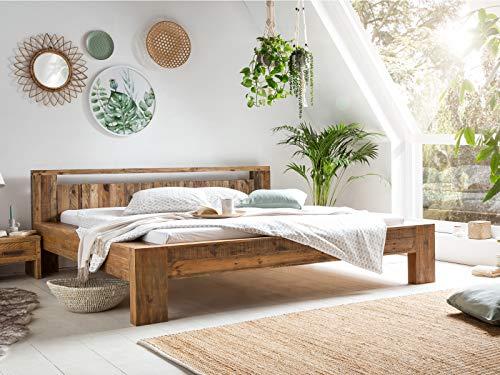 Woodkings Holz Bett 180x200 Scottburgh Doppelbett recycelte Pinie Holz rustikal Schlafzimmer Massivholz Design Ehebett Balkenbett Naturmöbel Echtholzmöbel