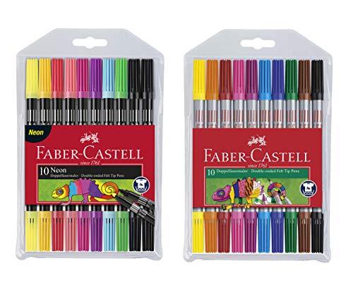 Faber-Castell 151109 - Doppelfasermaler 10er Etui, neon (Neon + Standard, 2x 10er Etui)